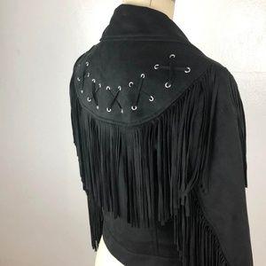 Zara trf Black Suede Fringe Moto Jacket Size XS